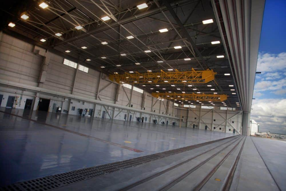 Inside of a hangar with lighting installed by MIL-CON